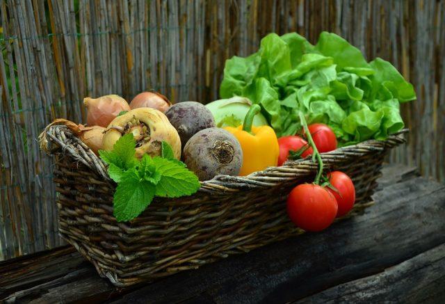 En kurv med en masse grøntsager