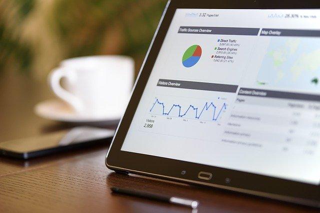 En tablet viser AdWords annoncer